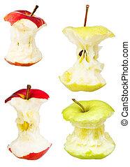 centri, bianco, set, mela, isolato