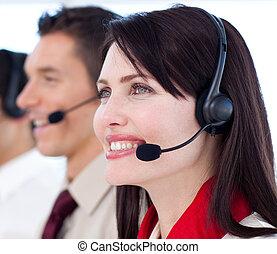 centro, chiamata, agenti, assistenza clienti, giovane