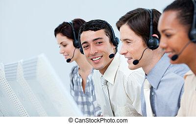centro, chiamata, cliente, rappresentanti, servizio, giovane