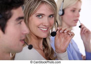 centro chiamata, persone lavorare
