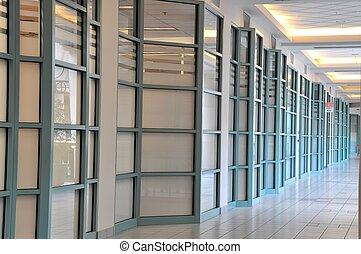 centro commerciale, angolo, corridoio, vista
