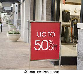 centro commerciale, segno vendita, esterno, vendita dettaglio