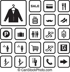 centro commerciale, set, shopping, icone