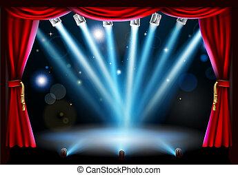 centro, fondo, illustrazione, palcoscenico