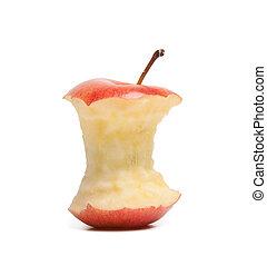 centro, fondo, isolato, mela, bianco rosso