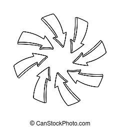 centro, indicare, punto, frecce, mano, disegnato