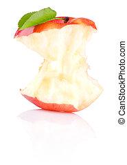 centro, mela, isolato, fondo, bianco rosso