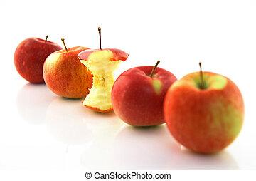 centro, mele, mela intera, fuoco