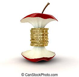 centro, monete, valori, oro