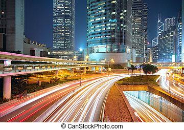centro, notte, traffico, zona