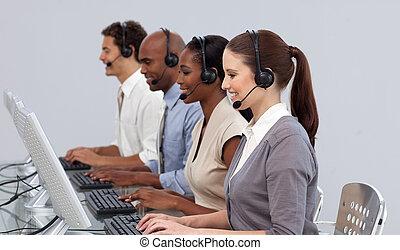 centro, positivo, partner affari, lavorativo, chiamata
