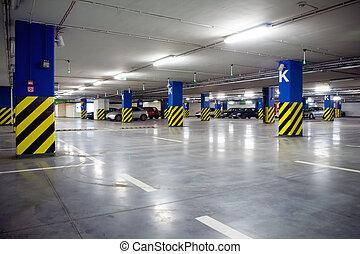 centro, sotterraneo, shopping, garage, parcheggio, interno