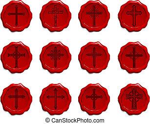 cera, religioso, set, croce, sigillo