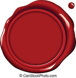 cera, rosso, sigillo