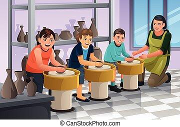 ceramica, bambini, classe