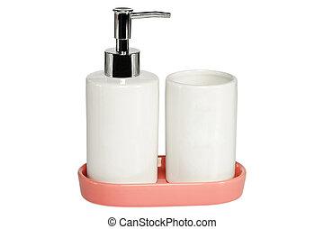 ceramica, bianco, set, fondo, bagno