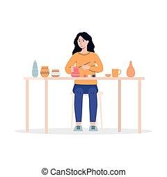 ceramica, pittura, donna, studio., argilla, ceramica, cartone animato, vaso
