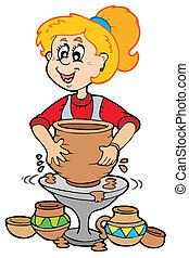 ceramica, ragazza, cartone animato