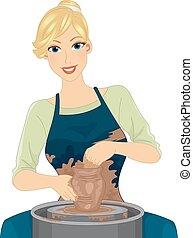 ceramica, ragazza