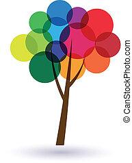 cerchi, albero, variopinto, image., felicità, life., icona, vettore, buono, concetto