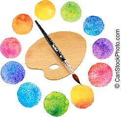 cerchi, arcobaleno, tavolozza, dipinto, acquarello, legno, colori, spazzola