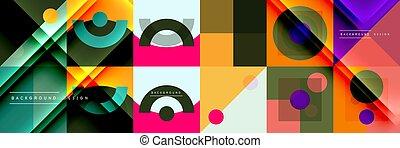 cerchi, astratto, fatto, minimalista, linee, geometrico, altro, triangoli, elementi, sfondi, squadre, rettangoli