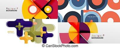 cerchi, astratto, triangoli, fatto, minimalista, altro, squadre, elementi, geometrico, linee, sfondi, rettangoli