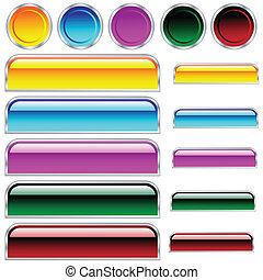 cerchi, bottoni, arrotondato, assortito, colori, lucido, scaleable, rettangoli