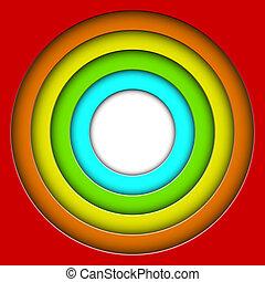 cerchi, colorito, astratto, vettore, fondo, 3d