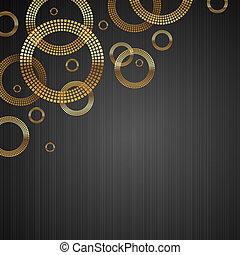 cerchi, dorato, astratto, metallo, struttura, vettore, lusso, fondo, baluginante