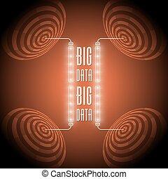 cerchi, grande, astratto, vettore, parole, dati
