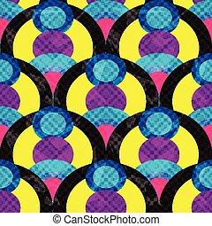 cerchi, grunge, modello, astratto, linee, seamless, illustrazione, effetto, vettore, geometrico