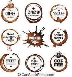 cerchi, tazza caffè, tè, anelli, labels., mocha, espresso, vettore, disegno, sagoma, testo, posto, o, tesserati magnetici