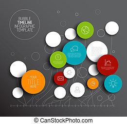 cerchi, vettore, astratto, scuro, infographic, sagoma