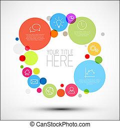 cerchi, vettore, descrittivo, diagramma, infographic, vario, sagoma