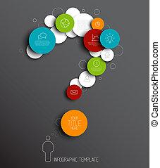 cerchi, vettore, domanda, astratto, -, marchio, scuro, infographic, sagoma