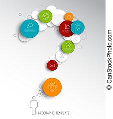 cerchi, vettore, luce, astratto, -, punto interrogativo, infographic, sagoma