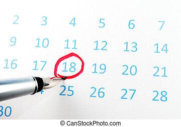 cerchio, calendario, rosso
