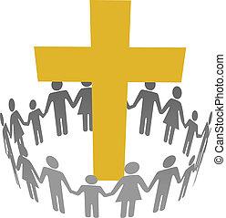 cerchio, cristiano, famiglia, comunità, croce