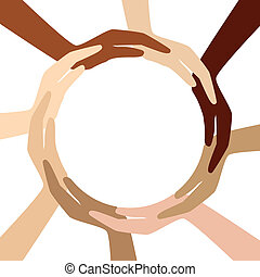 cerchio, differente, mani