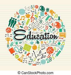 cerchio, educazione, colorito, icons.