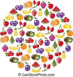 cerchio, frutta, icone