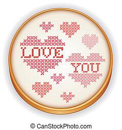 cerchio, legno, amore, lei, ricamo