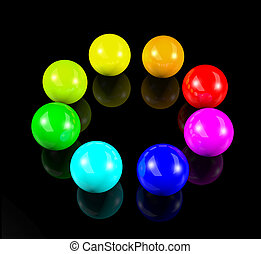 cerchio, palle, colorito, 3d