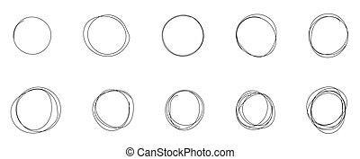 cerchio, passare insieme, schizzo, linea, disegnato