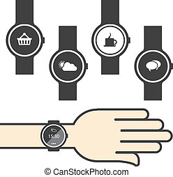 cerchio, smartwatch, icone