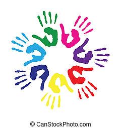 cerchio, stampe, colorito, mano
