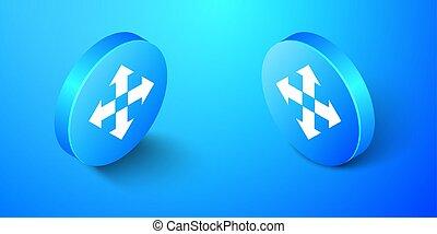 cerchio, vettore, blu, isolato, indicazione, isometrico, icona, quattro, button., fondo., frecce