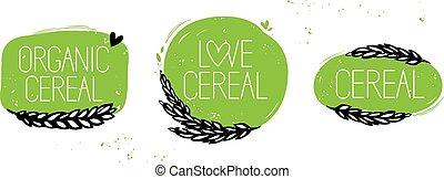 cereale, amore, simbolo, cereale, organico, set
