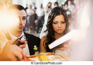 cerimonia, candele, coppia, fidanzamento, dietro, matrimonio, durante, vista